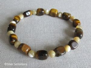Golden Tiger's Eye Nugget Beads & Mother of Pearl Bracelet
